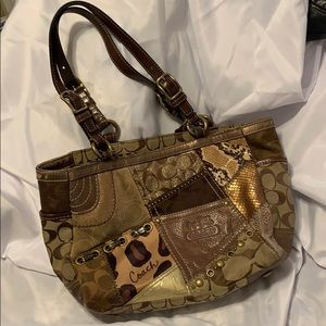 Coach patchwork patterned handbag